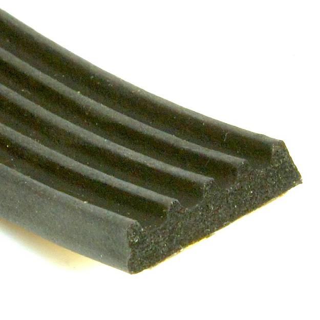 Picture of 15 x 4mm Self Adhesive Ribbed Neoprene Sponge Strip Per Metre