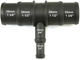 Bild von Abgestuftes Schwarzes Nylon T-Stück  35/38mm - 16/13mm