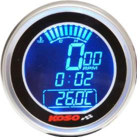 Picture of Digital Tachometer / Temp Gauge / Clock Black Face Stainless Bezel 61mm