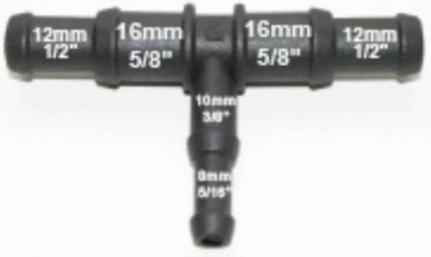 Picture of Schwarzes Abgesetztes Nylon-T-Stück 15/12mm - 10/8mm