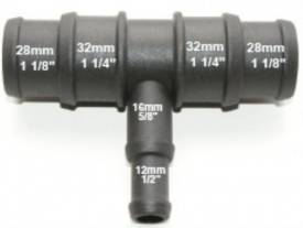 Picture of Black Nylon Stepped T Piece 32/28mm - 15/12mm