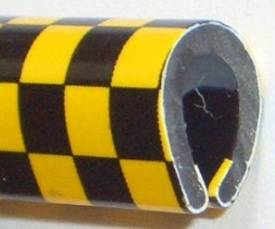 Picture of Black/Yellow Chequer U Channel Edge Trim 8mm x 5.5mm Per Metre