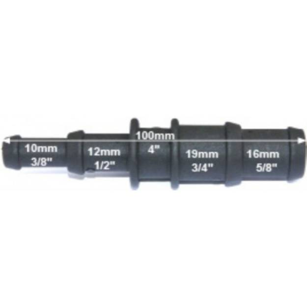 Picture of Schwarzer Abgesetzter Nylon-Reduzierverbinder 10/12mm - 19/16mm
