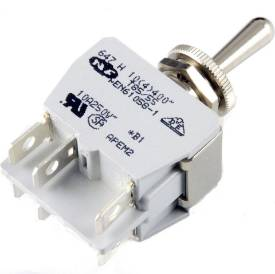 Picture of Knurled Ring Toggle Switch On(spring return)-Off-On (spring return)  Double Pole