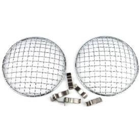 """Picture of 5 3/4"""" Chrome Mesh Headlamp Stone Guards"""