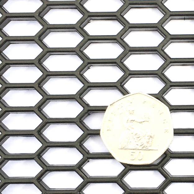 Picture of Schwarzes ABS SMALL Hex Mesh Sheet 1200mm x 300mm