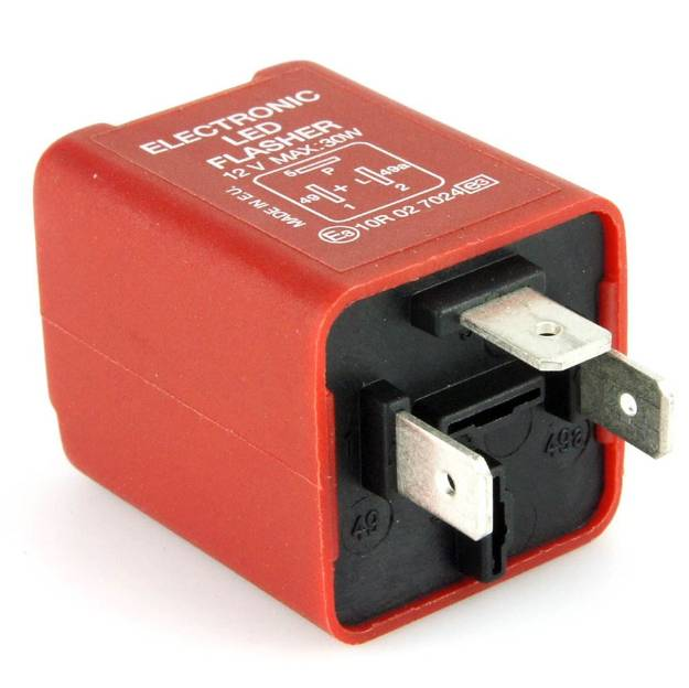 Picture of Red 3 Pin LED Flasher Relay 30 Watt