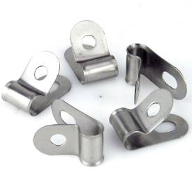 Picture of Vintage Style Unlined Wide Stainless Steel P-Clips 8mm Pack of 5
