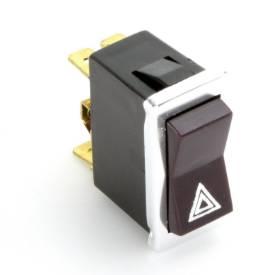 Picture of Illuminated Hazard Rocker Switch Black With Chrome Bezel
