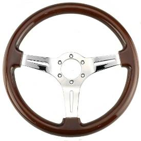Picture of 350mm Chrome Wood Rim Steering Wheel With Slotted Frame