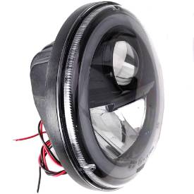 Picture of Wipac  LED Projector Style Replacement Headlamp With Halo Sidelight and Black Bezel