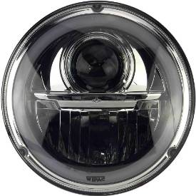 Picture of Wipac LED Projector Style Replacement Headlamp With Halo Sidelight and Chrome Bezel