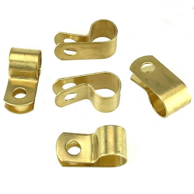 Picture of Messing 9,5 mm 'P' Clips Packung mit 5 Stück
