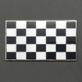 Picture of Black and White Chequered Flag Enamel Badge 51x29mm