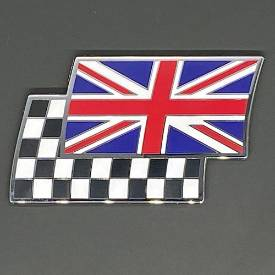 Picture of Union Flag and Chequered Flag Overlayed Pair Enamel Badge