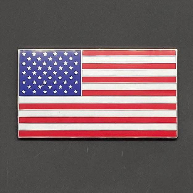 Picture of USA Flag Chrome and Enamel Badge  Self Adhesive