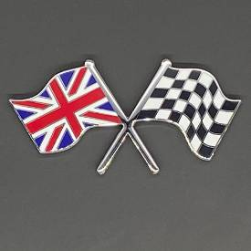 Bild von Crossed Union Jack and Chequered Flag Badge Self- Adhesive