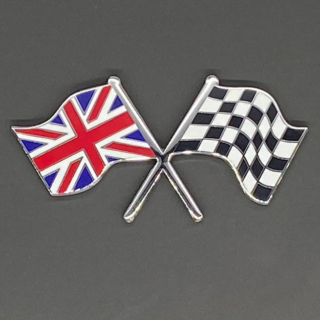 Picture of Crossed Union Jack and Chequered Flag Badge Self- Adhesive