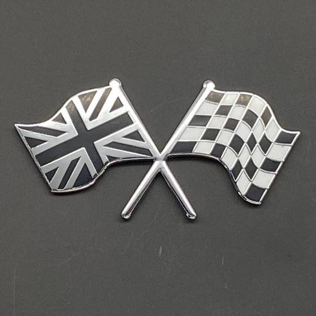 Picture of Crossed B&C Union Jack and Chequered Flag Badge Self- Adhesive