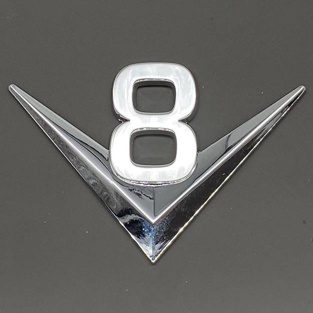 Picture of Chrome V8 Script Badge Self-Adhesive